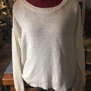 Cream Tear Back Sweater